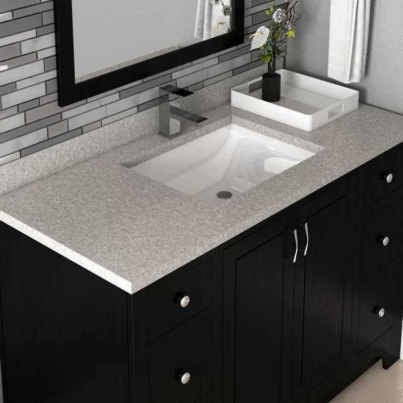 37 in w cultured marble vanity top in moonscape grey with solid white basin and 4 in faucet spread