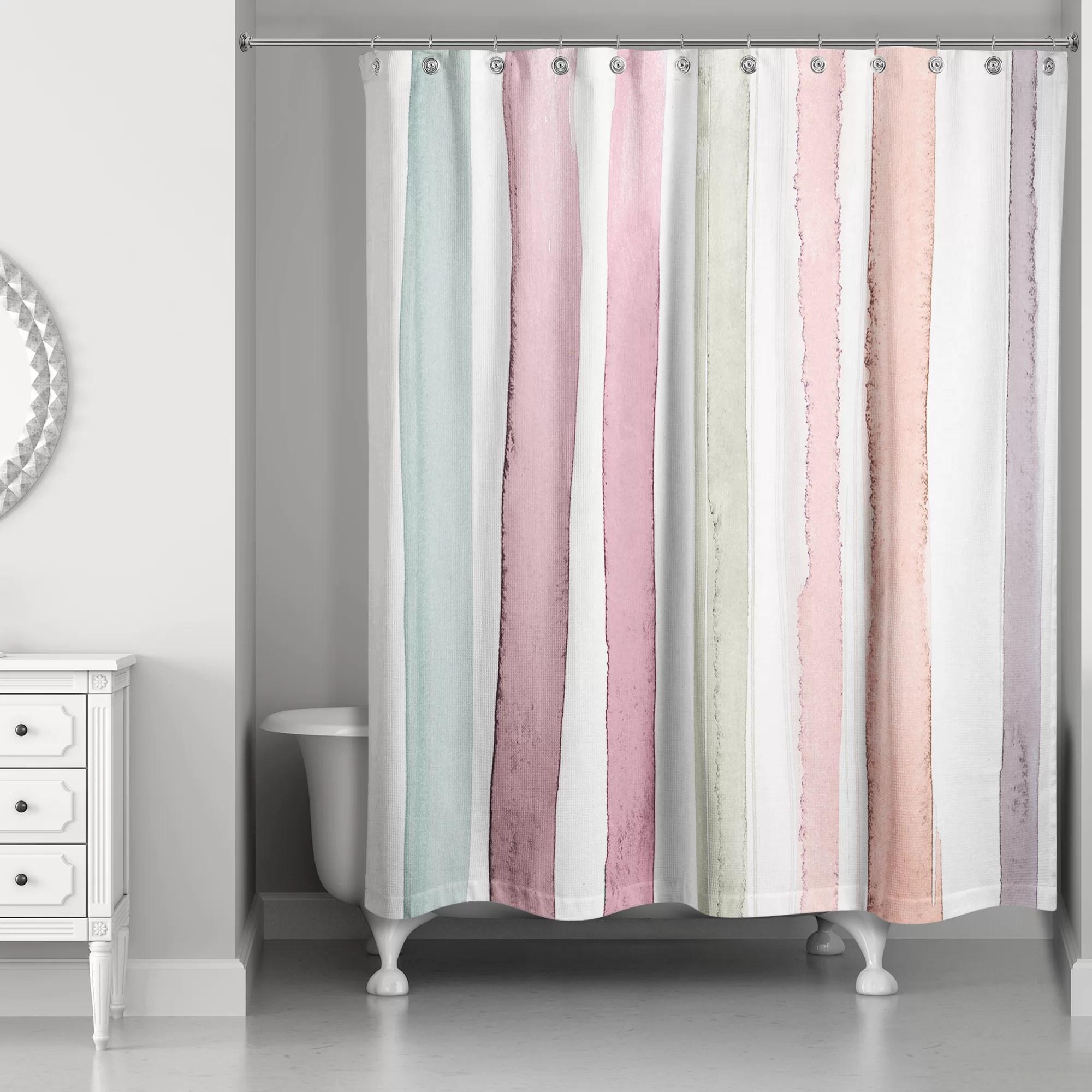 Newburn Watercolor Stripes Single Shower Curtain