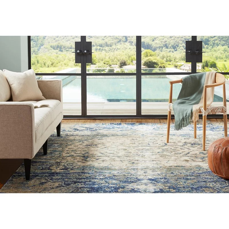 living rooms with blue area rugs wall decorating ideas for room bungalow rose potter beige rug reviews wayfair