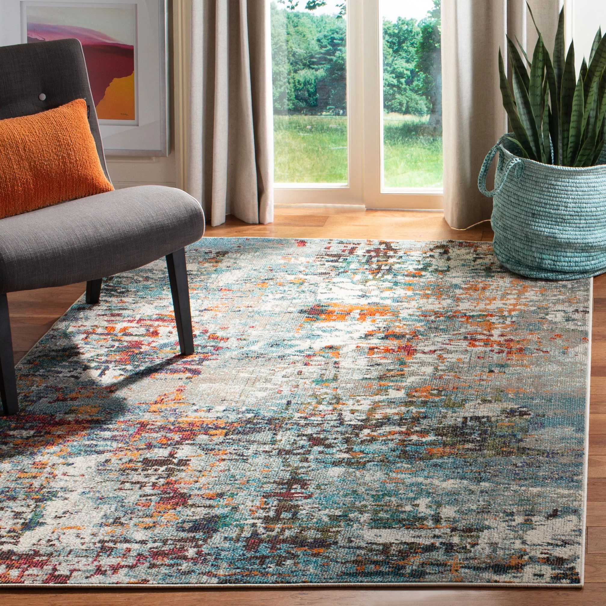 tapis gris bleu orange neasa