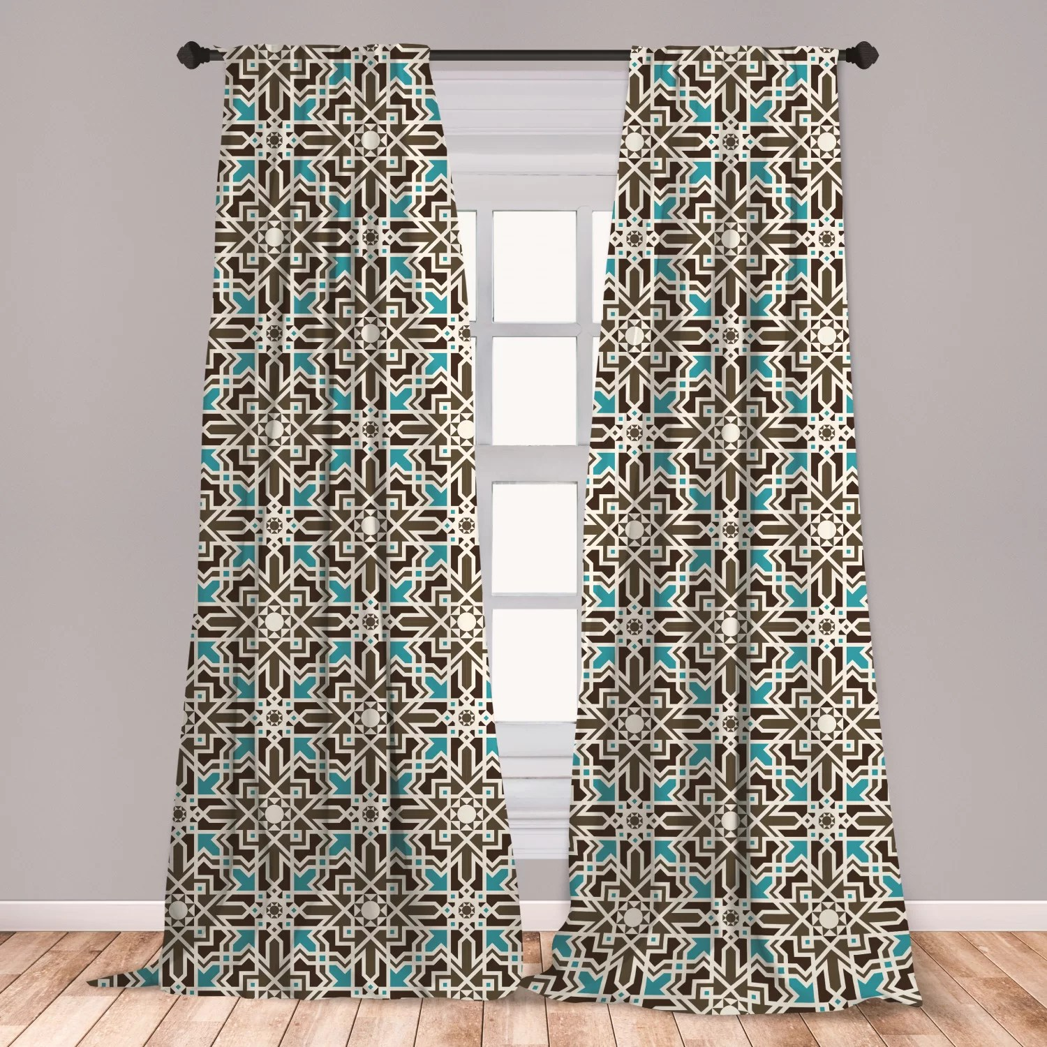 ambesonne brown and blue curtains middle eastern inspired moroccan star pattern ornament window treatments 2 panel set for living room bedroom