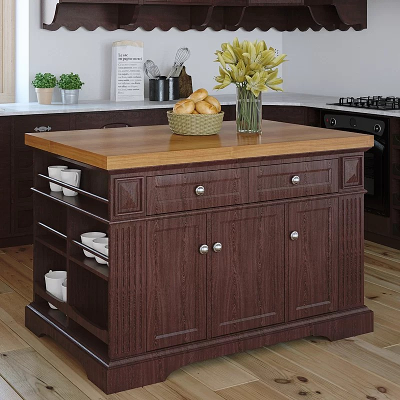 222 Fifth Furniture Greenwich Kitchen Island With Butcher Block Top