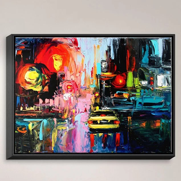 Faces of the City cxvi by Aja Ann Painting on Wrapped Framed Canvas Size: 31.75 H x 41.75 W x 1.75 D Frame Color: Black