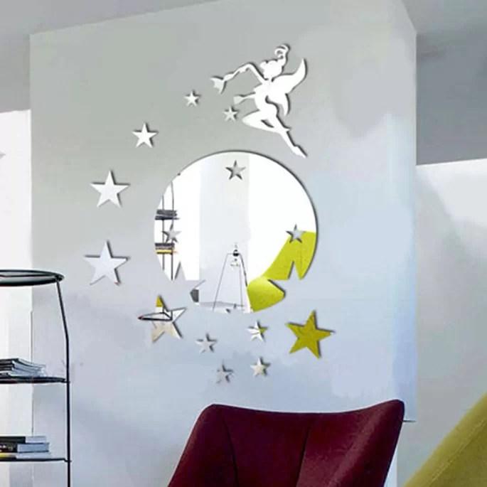 walplus flying fairy tinker bell with stars round mirror wall art