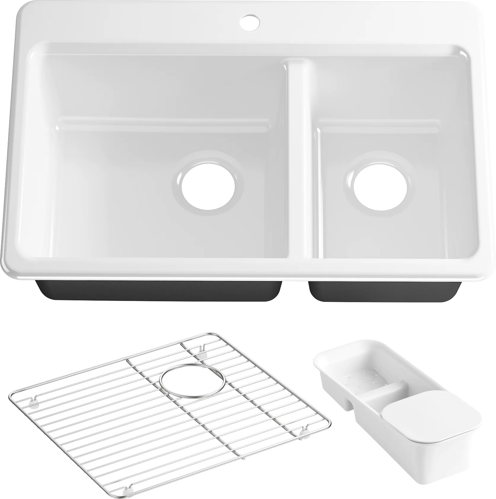kohler riverby 33 x 22 x 9 625 top mount large medium double bowl kitchen sink with accessories and single faucet hole