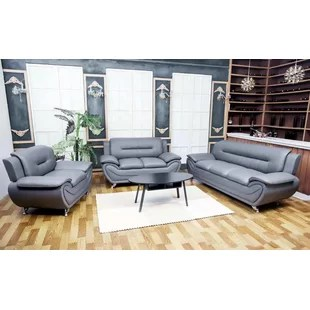 modern leather living room sets plum coloured rooms grey you ll love wayfair quickview