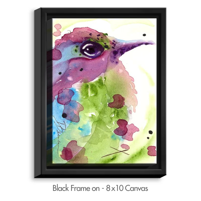 Spring Dreaming Bird by Dawn Derman Painting Print on Wrapped Framed Canvas Size: 37.75 H x 25.75 W x 1.75 D Frame Color: Black
