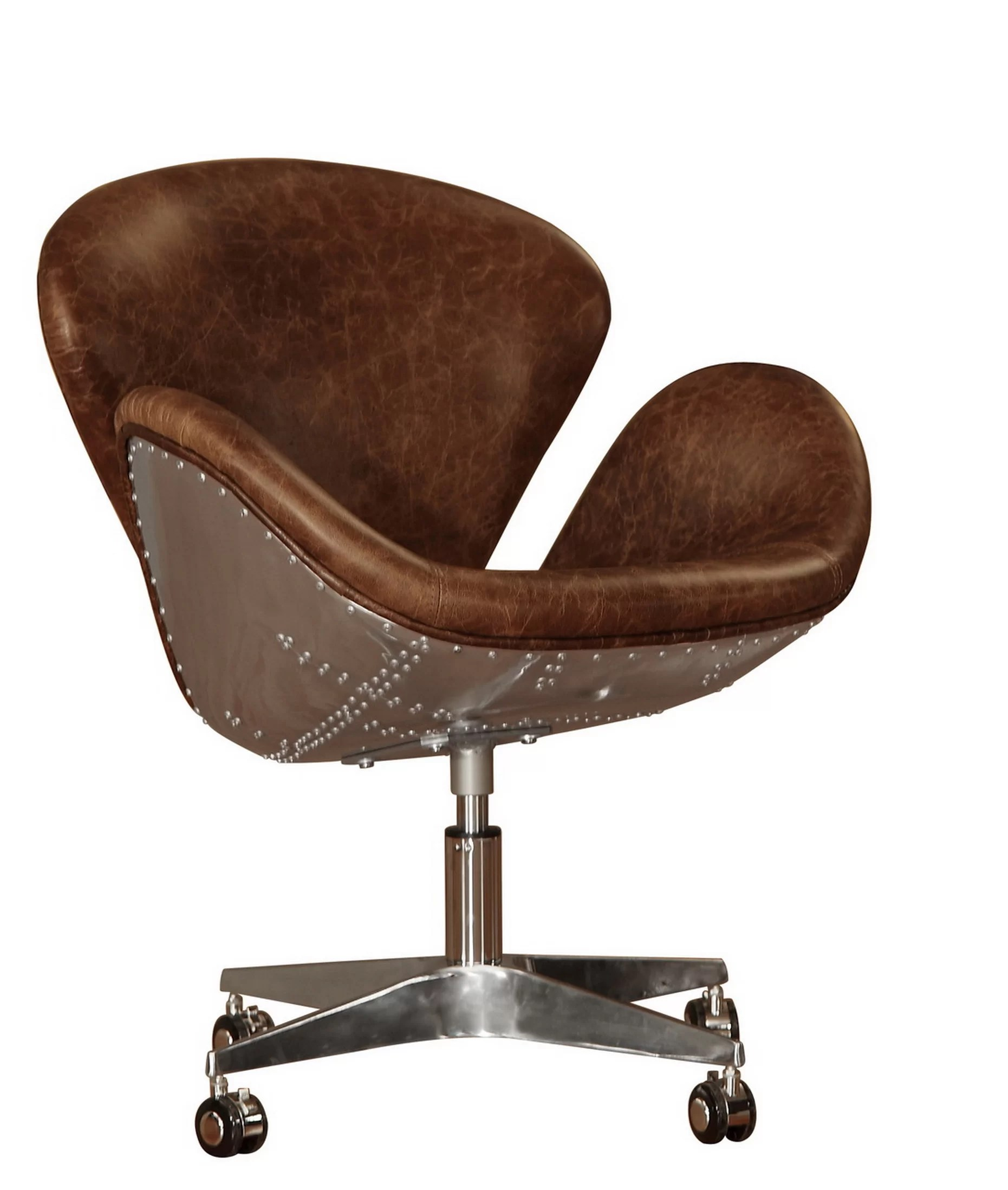 leather desk chairs hanging chair making lazzaro timeless bomber reviews wayfair