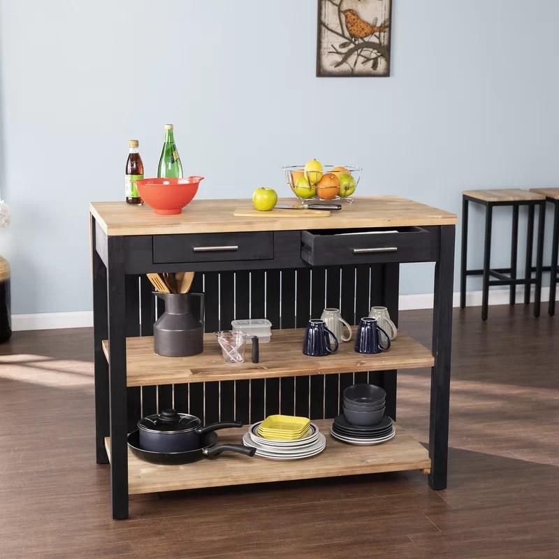 Gracie Oaks Expandable Freestanding Kitchen Island Reviews Wayfair
