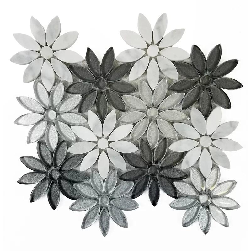 flower illusion 12 x 12 glass stone deco mosaic tile