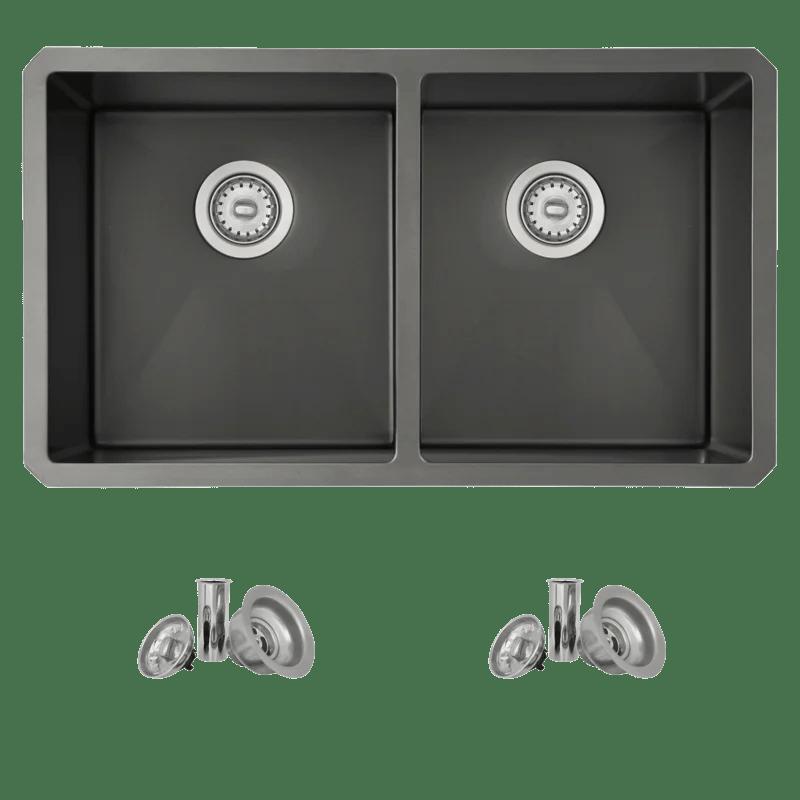 stylish 32 l x 18 wdouble basin undermount kitchen sink with basket strainer