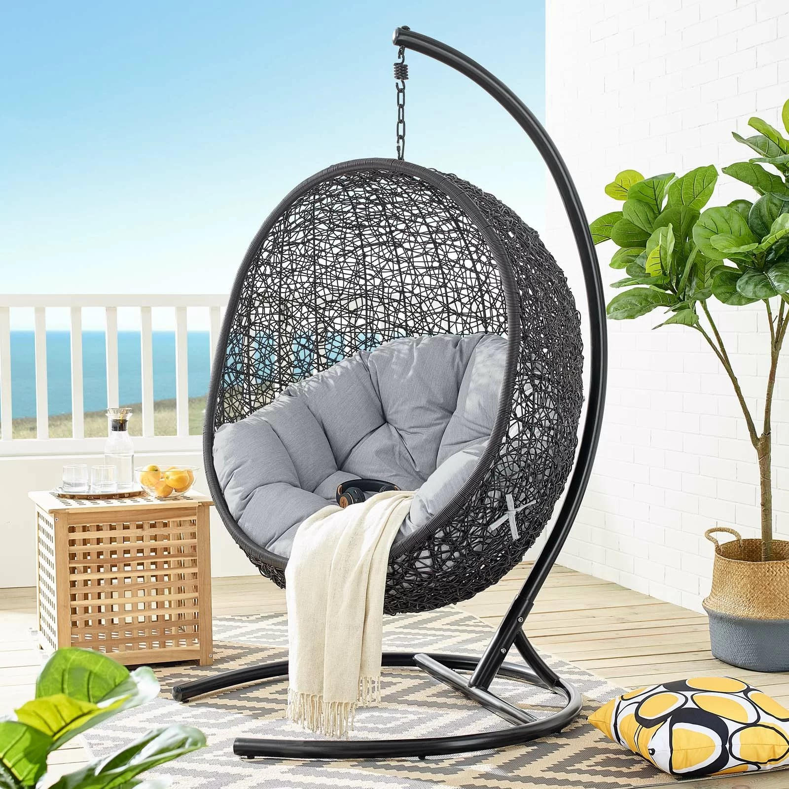 wisser sunbrella outdoor patio swing chair with stand