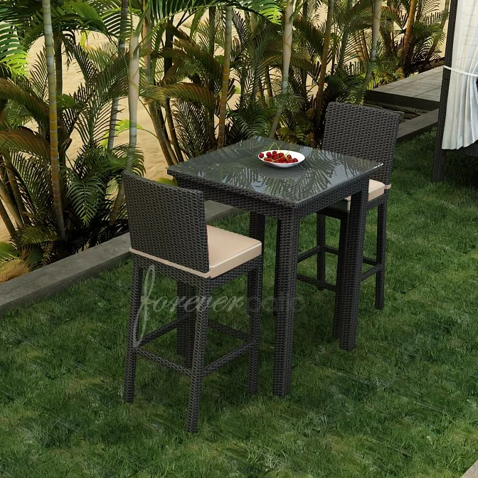 barbados square 2 person 30 long aluminum bar height dining set with cushions