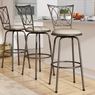 bar stool chairs baby chair clips onto table adjustable stools set of 3 wayfair frankfort swivel
