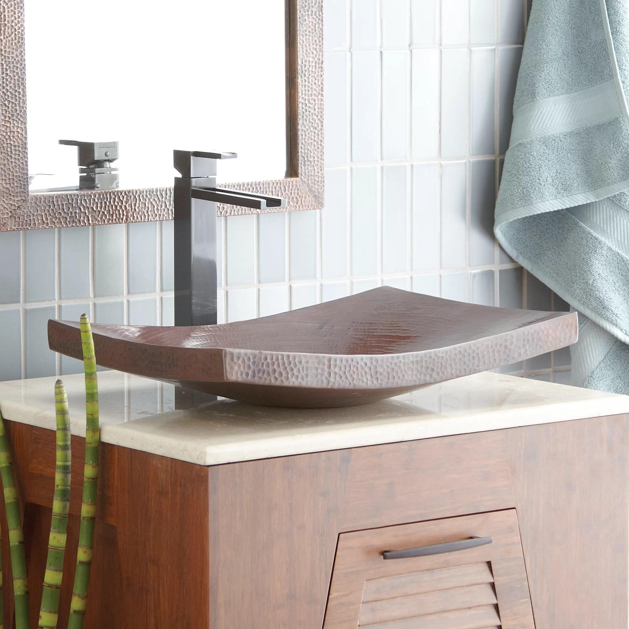 maestro antique copper metal hand hammered rectangular vessel bathroom sink