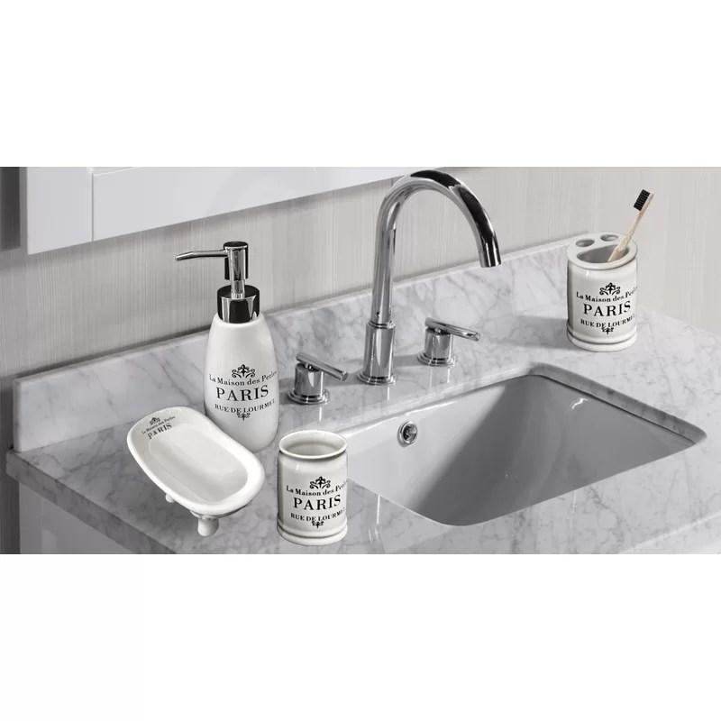 One Allium Way Katniss Paris Ceramic 4 Piece Bathroom Accessories Set Reviews Wayfair
