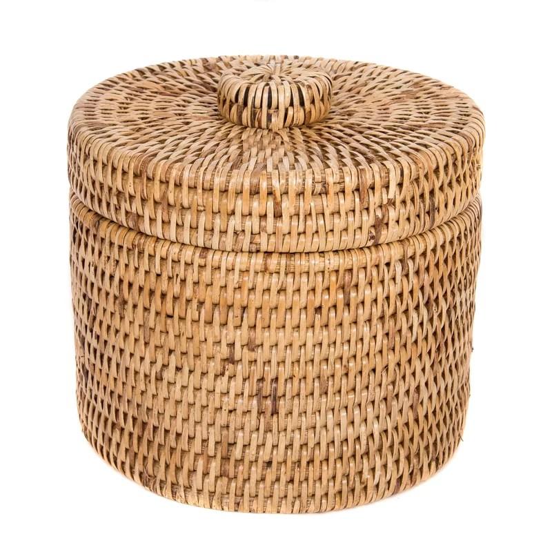 Rattan Round Single Tissue Box Cover Color: Brown