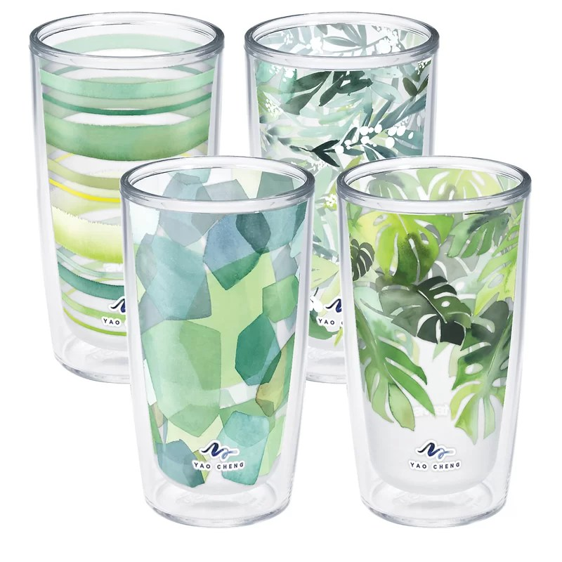 tervis yao cheng green collection 16 oz 4 piece assorted insulated tumbler set