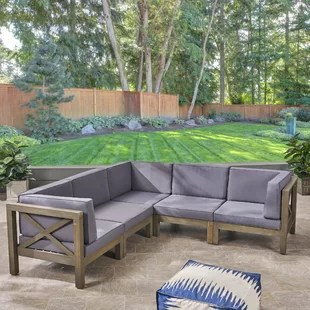 ansel outdoor 5 piece sectional seating group with cushion