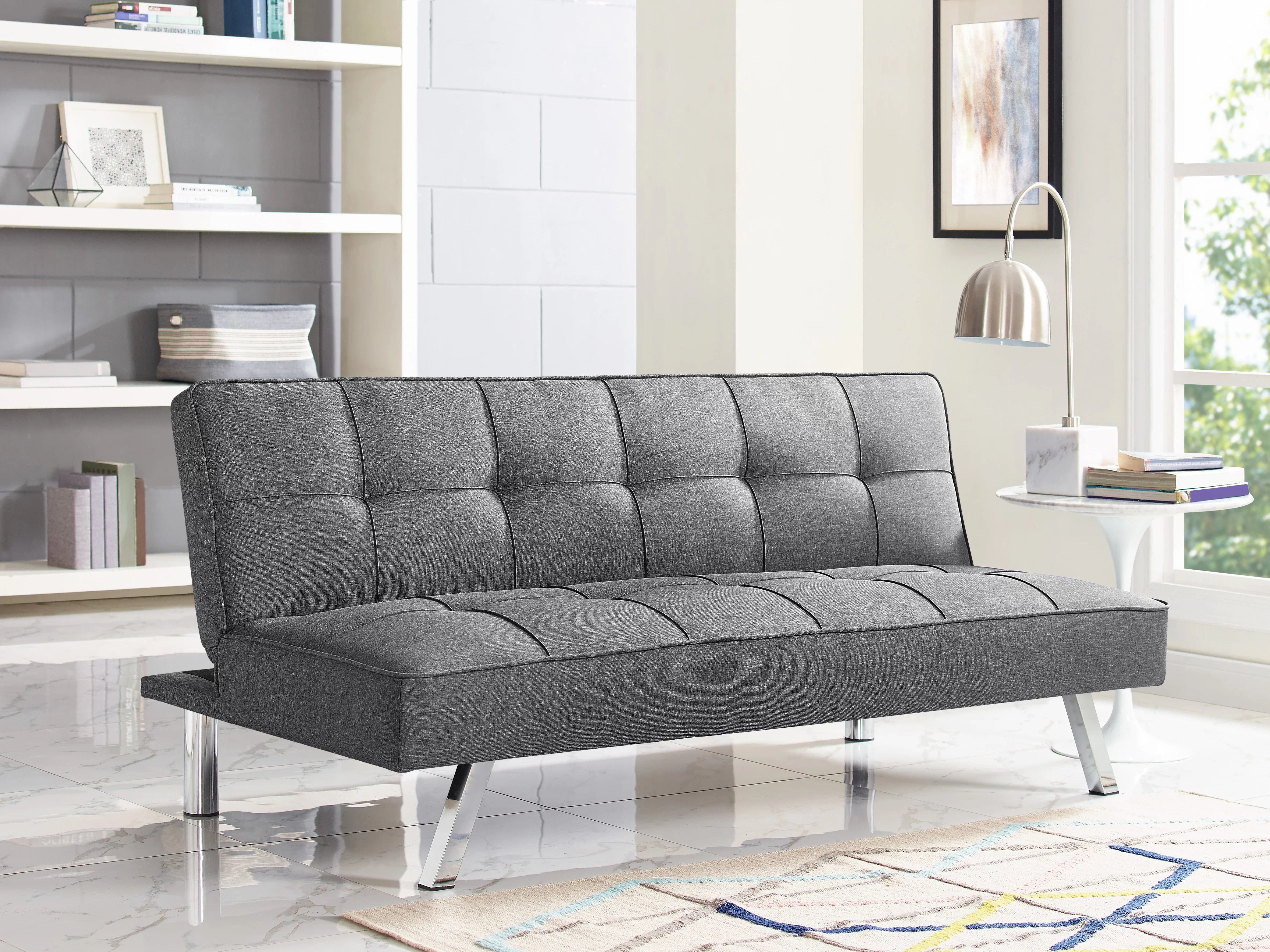 tomas fabric sofa chaise convertible bed dark java bauhaus sectional reviews serta dream wayfair quickview black charcoal