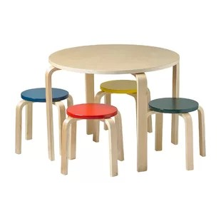 round table and chairs how to reupholster a wing chair toddler kids sets you ll love wayfair bentwood 5 piece set