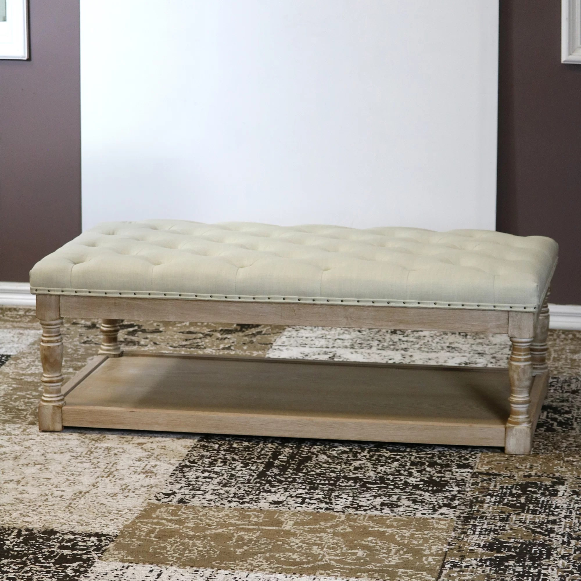 tubbs 48 tufted rectangle cocktail with storage ottoman