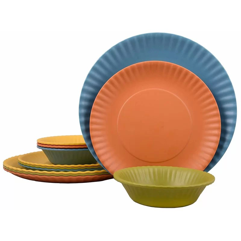https www wayfair com kitchen tabletop pdp catereco melange 9 piece melamine dinnerware set paper plate collection shatter proof and chip resistant melamine plates and bowls color multicolor dinner plate salad plate soup bowl 3 each w000385102 html