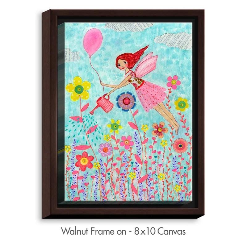 Garden Fairy by Sascalia Painting Print on Wrapped Framed Canvas Size: 15.75 H x 12.75 W x 1.75 D Frame Color: Walnut