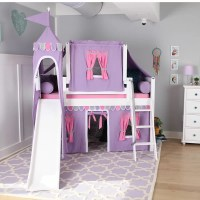Maxtrix Kids Wow Loft Bed with Slide Tent and Curtains ...