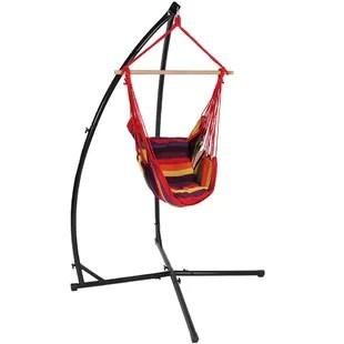 swing chair with stand kuwait hair on hide desk indoor hanging wayfair kasandra durable metal hammock