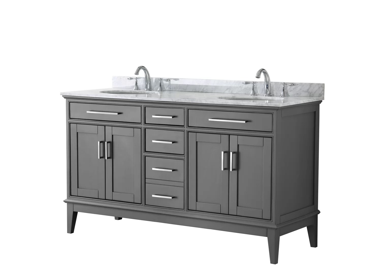 Margate 60 Inch Single Bathroom Vanity In Dark Gray And No Mirror White Carrara Marble Countertop