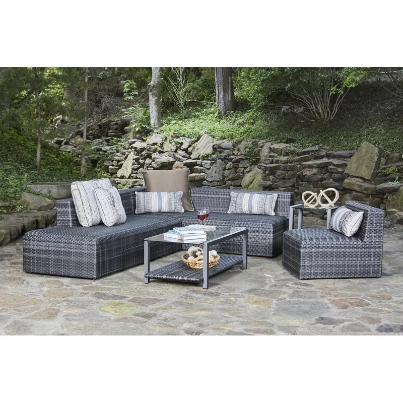 canaveral 74 wide outdoor wicker patio sectional