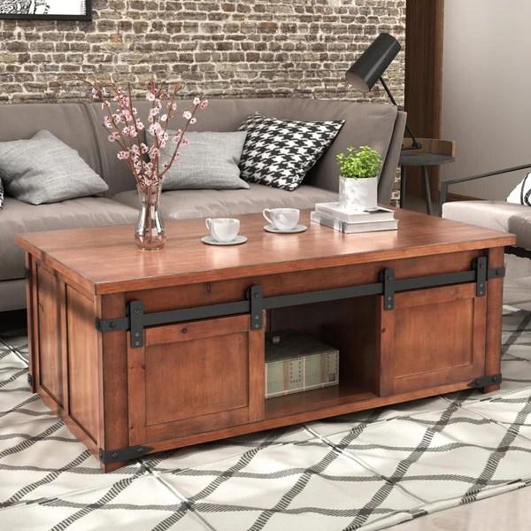 sliding barn door coffee table