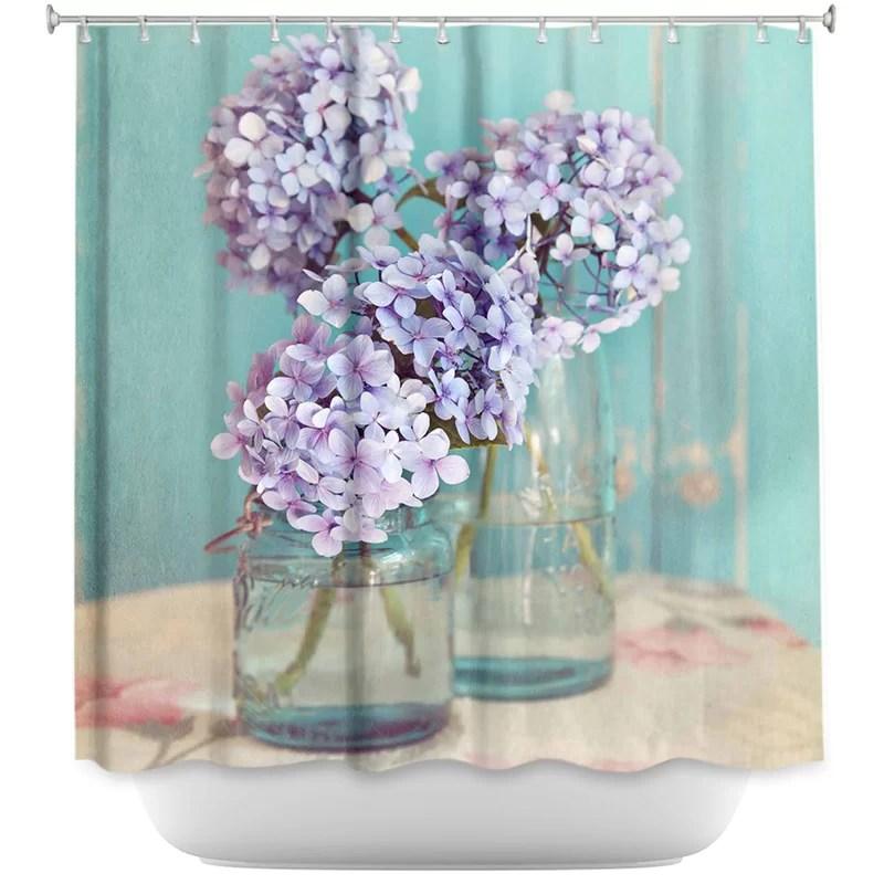 hydrangeas in mason jars single shower curtain