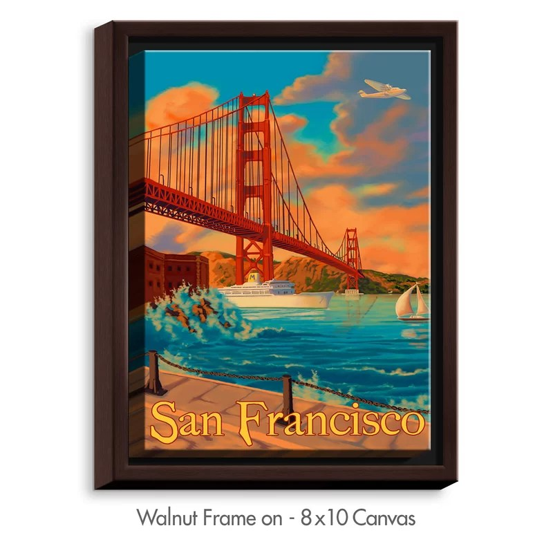 San Francisco Golden Gate Bridge III by Lantern Press Painting Print on Wrapped Framed Canvas Size: 15.75 H x 12.75 W x 1.75 D Frame Color: Walnut