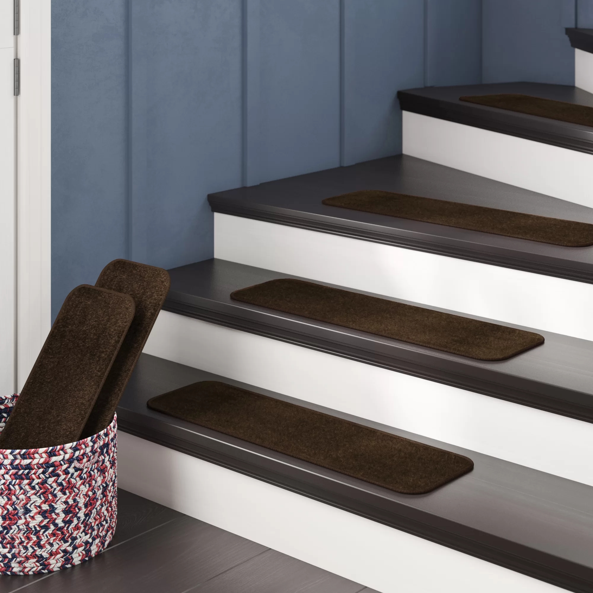 Andover Mills™ Carreras Pile Stair Treads Reviews Wayfair | Braided Stair Treads With Rubber Backing | Non Slip | Skid Resistant | Anti Slip | Heritage Farms | Slip Resistant