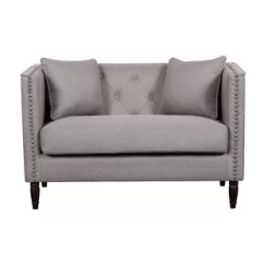 Black Leather Sofa With Nailheads Cleaning Altrincham Nailhead Trim Wayfair Adairsville Linen Tufted Chesterfield Loveseat