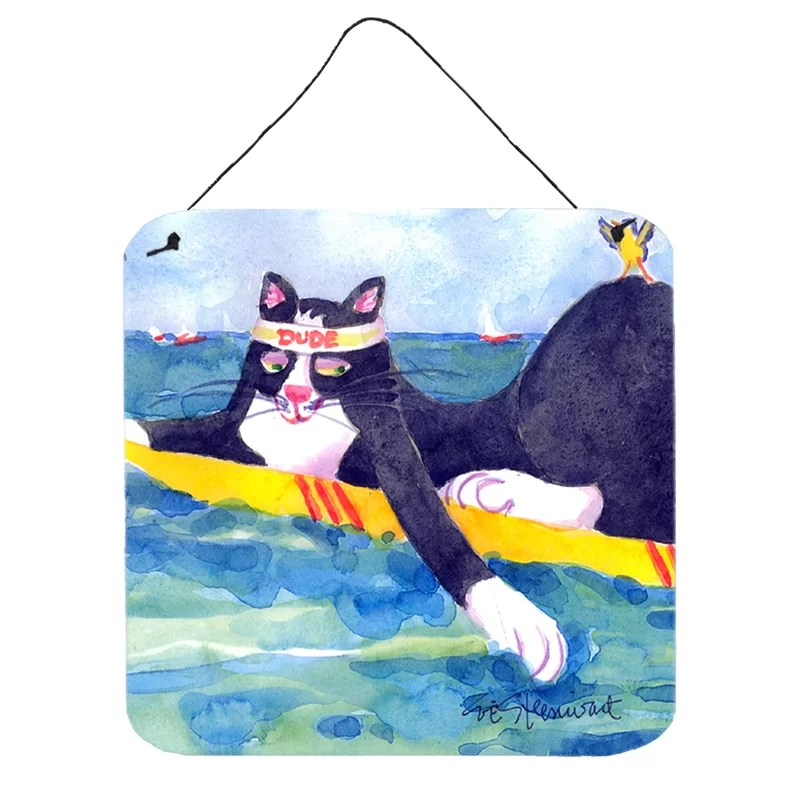 Black and White Cat Surfin Bird by Coe Steinwart Painting Print Plaque