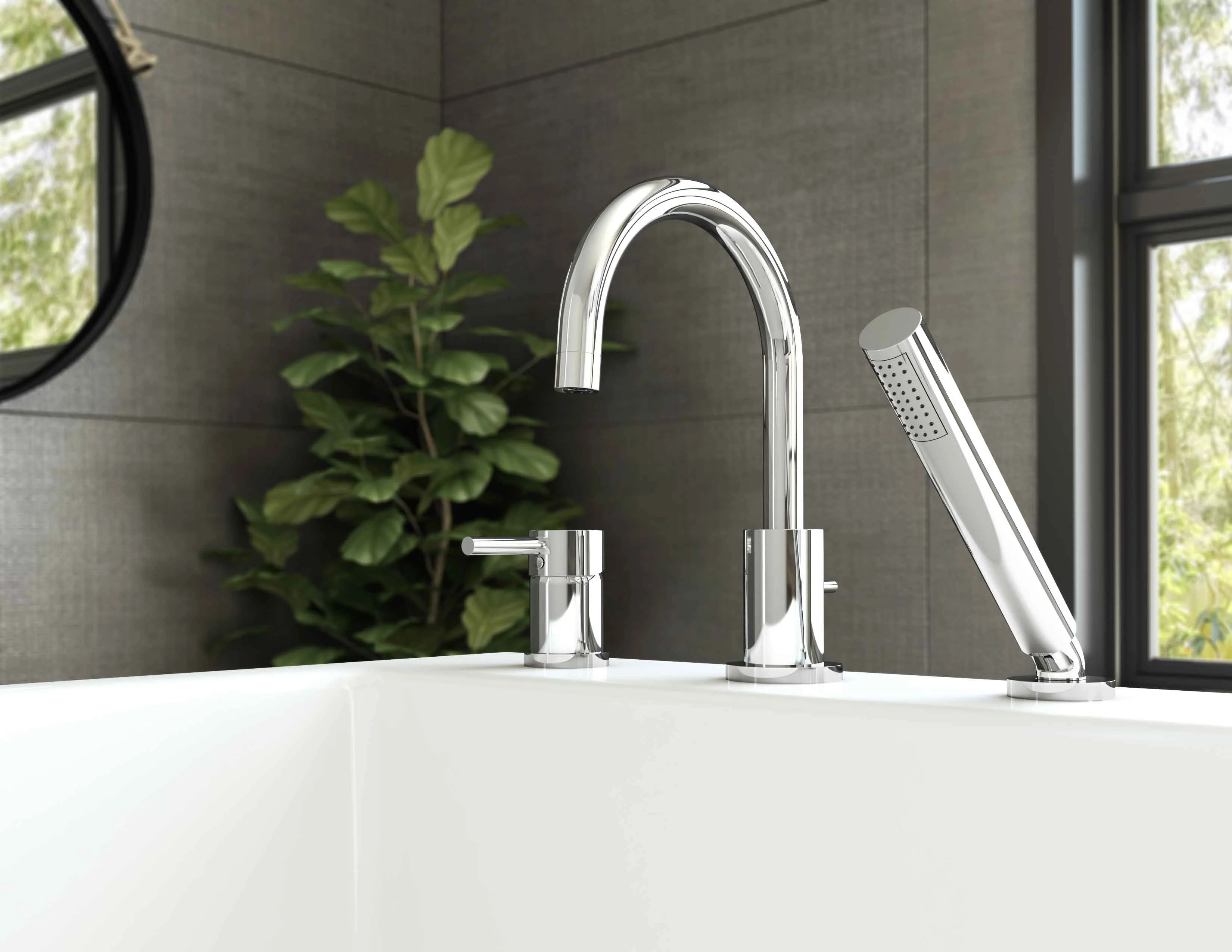 essential style single handle deck mounted roman tub faucet with diverter and handshower