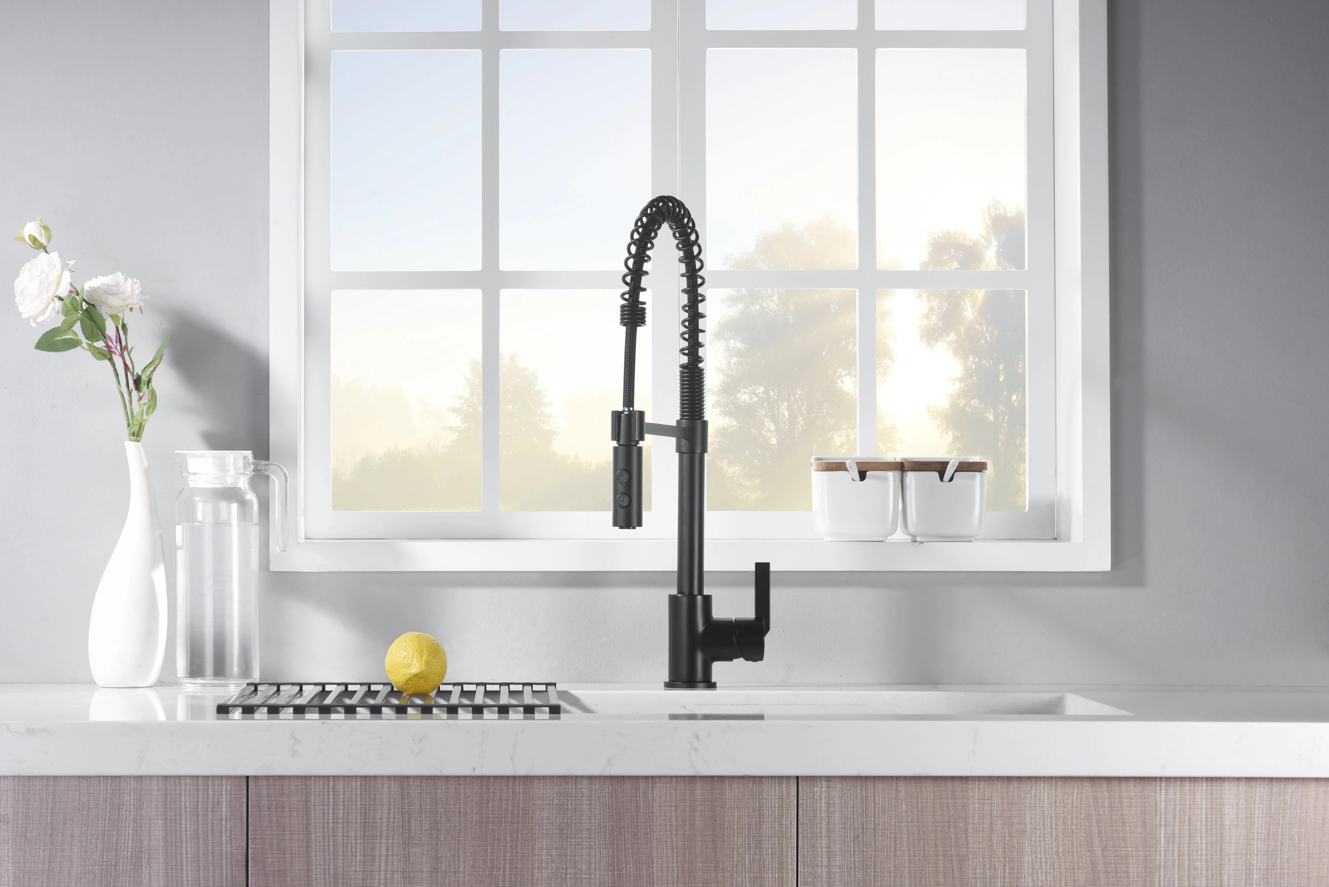 euro spring pull down single handle kitchen faucet