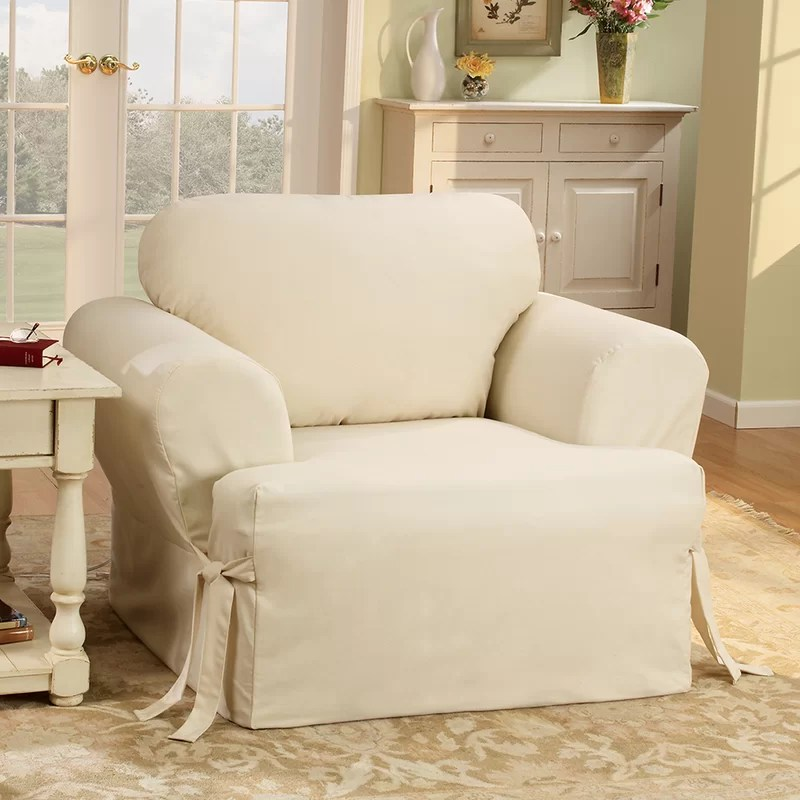 slipcovers for living room chair medical recliner chairs sure fit cotton duck t cushion armchair slipcover reviews wayfair