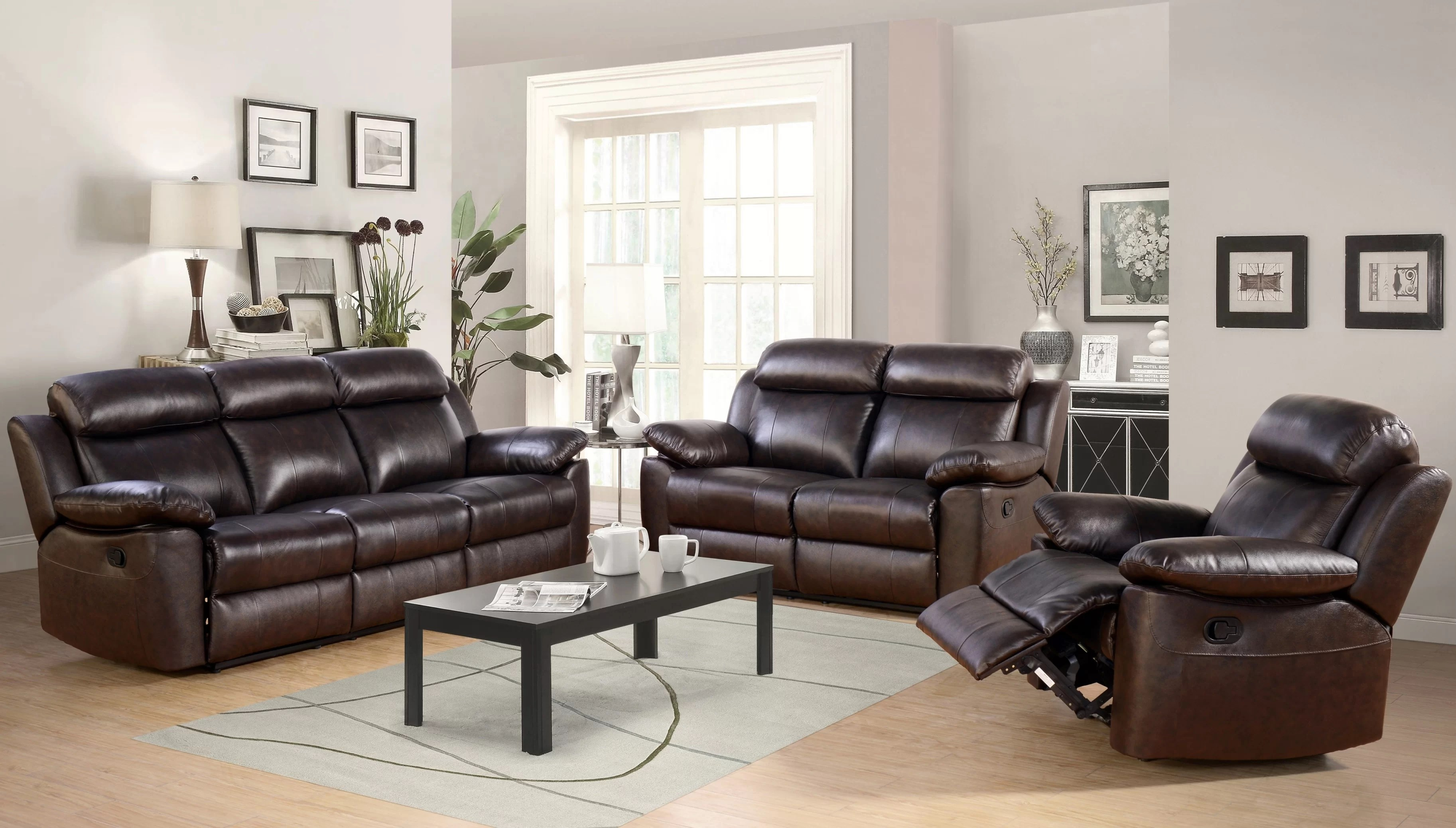 reclining leather living room furniture sets orange painted walls breakwater bay oliver 3 piece set wayfair ca