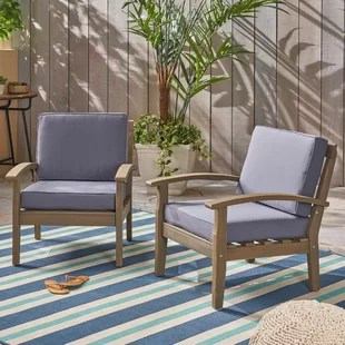 rustic outdoor chairs salon for sale used club you ll love wayfair claytor patio chair with cushions set of 2 by union