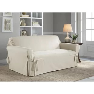 cotton recliner chair covers scooter chairs for sale duck slipcover wayfair box cushion loveseat