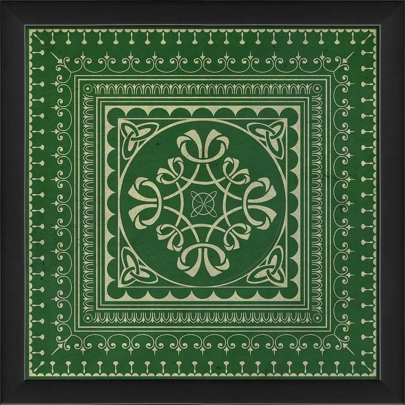Tile 3 Framed Graphic Art Color: Green