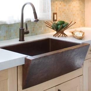 farm kitchen sink cheap cabinets antique copper farmhouse sinks you ll love wayfair quickview