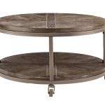 Union Rustic Brien Urban Industrial Round Cocktail Table White Limed Burnt Oak And Distressed Grey Reviews