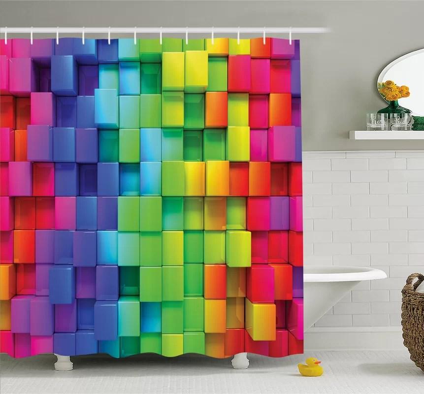 Ambesonne Rainbow Color Contour Display Futuristic Block BrickLike Geometric Artisan Shower