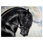 Designart Friesian Horse Painting Painting Print On Wrapped Canvas