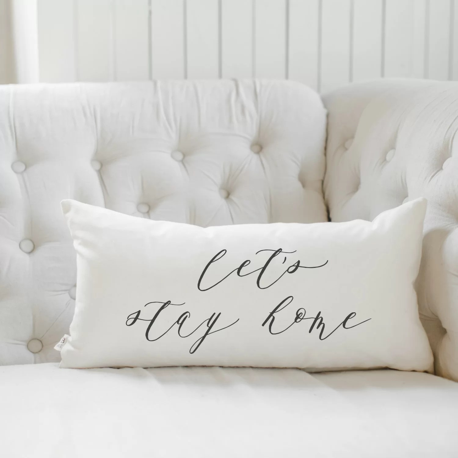 let s stay home cotton lumbar pillow cover